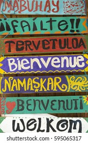 Greeting / Hello wooden signs written in different languages