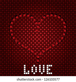 Greeting love background with heart on the creative backdrop. Raster version
