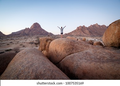 Greeting of a new dat at the rock unit in Spitzkoppe camping site, Namibia