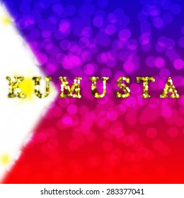 greeting text of Philippines country on blur light background
