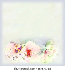 Greeting vintage card with bright spring flowers and frame on hazed background in pastel colors