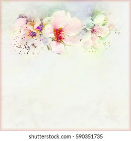 Greeting vintage card in pastel colors with spring flowers on hazed background with frame