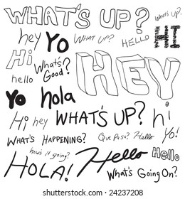 Say hello stock illustrations images vectors shutterstock greetings in doodle style as you might find written in a teenagers school notebook many m4hsunfo Image collections