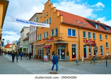 GREIFSWALD, GERMANY - APRIL 2, 2015: Streets of historical center, view of the old part of the city, Mecklenburg-Vorpommern, Germany
