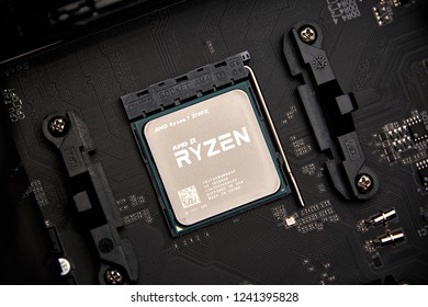 Greifswald/Germany-11/17/2018: View on Ryzen 7 2700 CPU by AMD put on AM4 socket