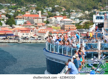 GRENADA, CARIBBEAN - MARCH 25, 2017 : Royal Princess ship sails away from Saint George port. Royal Princess is operated by Princess Cruises line and has a capacity of 3600 passengers