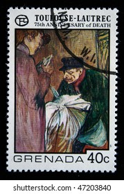 GRENADA - CIRCA 1977: A stamp printed in Grenada shows draw by artist Touloise-Lautrec - Laundryman Calling at the Brothal, circa 1977