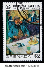 GRENADA - CIRCA 1977: A stamp printed in Grenada shows draw by artist Touloise-Lautrec - Monsieur Boleau in a Cafe, circa 1977