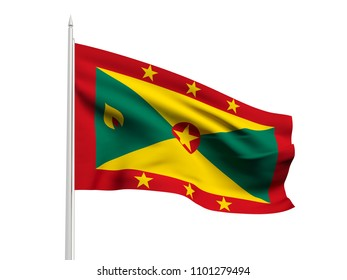 Grenada flag floating in the wind with a White sky background. 3D illustration.