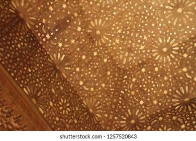 GRENADA, SPAIN - NOV 23, 2018 - Islamic patterns on the ceiling of theAlhambra Palace, Grenada, Spain
