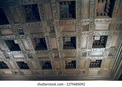 GRENADA, SPAIN - NOV 23, 2018 - Coffered wood ceiling of the Alhambra Palace, Grenada, Spain