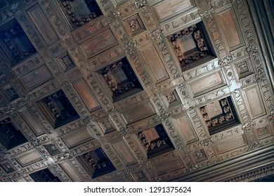 GRENADA, SPAIN - NOV 23, 2018 - Coffered wood ceiling of the Alhambra Palace, Grenada, Spain
