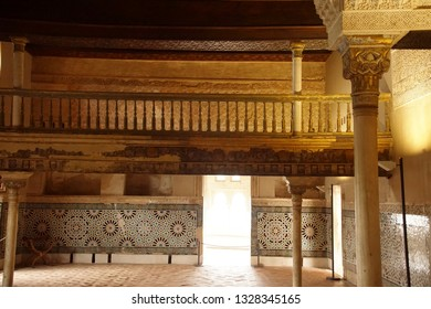 GRENADA, SPAIN - NOV 23, 2018 - Islamic patterns on the ceiling of the Alhambra Palace, Grenada, Spain