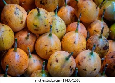 Grenadilla tropical fruits on a farmers market