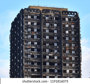 Grenfell, London, England 2018: Grenfell Tower after the fire which killed and wounded many residents and was the subject of huge controversy surrounding the safety of such Tower blocks