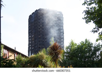 Grenfell Tower after the fire Latimer Rd London UK W10 on 14th June 2017