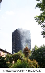 Grenfell Tower after the fire Latimer Rd London UK W11 1TG on 14th June 2017