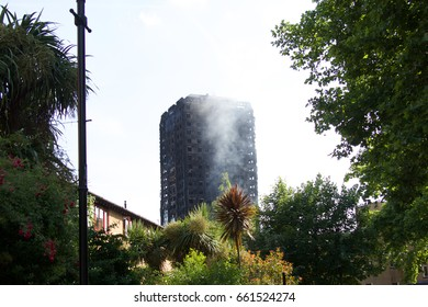 Grenfell tower block burning after blaze destroys the building killing dozens of people on 14-06-2017 Latimer Rd, London W11 1TG
