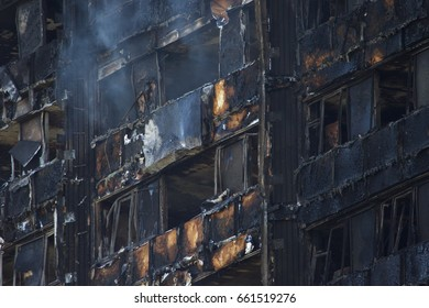 Grenfell Tower smoking after large blaze destroyed building  Latimer Rd, London W11 1TG 14-06-2017