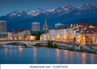 Grenoble. Cityscape image of Grenoble, France during twilight blue hour.