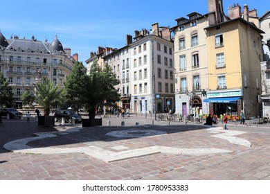 Grenoble, France - 05 30 2019 : Place Notre Dame in Grenoble, city of Grenoble, department of Isere, France