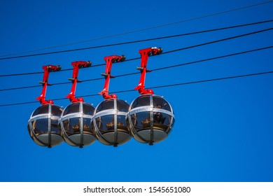 Grenoble, France - 10/10/19: Grenoble-Bastille cable car which links the Bastille with the city center of Grenoble.