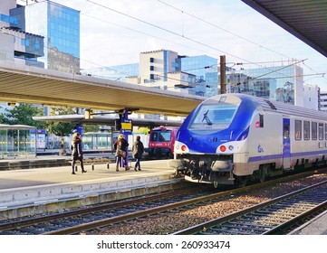 GRENOBLE, FRANCE -26 FEB 2015- Editorial: A Transport Express Regional (TER) from the French national railway company SNCF enters into the Grenoble train station.