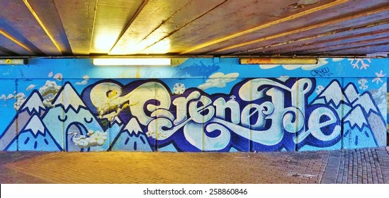 GRENOBLE, FRANCE -26 FEBRUARY 2015- Editorial: The town of Grenoble, at the foot of the Alps mountains in Isere, is considered the French capital of graffiti and street art.