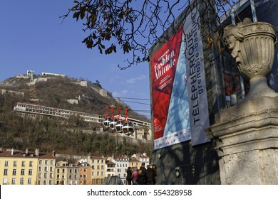 """GRENOBLE, FRANCE, December 28, 2016 : The Bastille is an ancient series of fortifications overlooking Grenoble, and destination of the Cable Car, system of egg-shaped cable cars known as """"Les Bulles"""""""