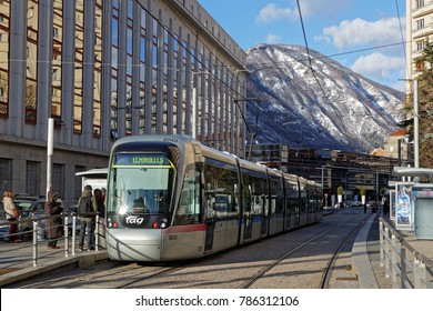 GRENOBLE, FRANCE, December 28, 2017 : Tramway and mountains. Grenoble prepares to commemorate 50 years of Winter Olympic Games that took place in the city and the region.