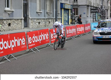 "GRENOBLE, FRANCE - JUN 3: Professional racing cyclist Arnaud Gerard rides UCI WORLD TOUR "" CRITERIUM DU DAUPHINE LIBERE"" time trial on June 3, 2012 in Grenoble, France. Luke Durbridge wins the stage."