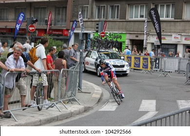"GRENOBLE, FRANCE - JUN 3: Professional racing cyclist Kenny de Haes rides UCI WORLD TOUR "" CRITERIUM DU DAUPHINE LIBERE"" time trial on June 3, 2012 in Grenoble, France. Luke Durbridge wins the stage."