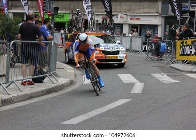 "GRENOBLE, FRANCE - JUN 3: Professional racing cyclist Paul Martens rides UCI WORLD TOUR ""CRITERIUM DU DAUPHINE LIBERE""  time trial on June 3, 2012 in Grenoble, France. Luke Durbridge wins the stage"