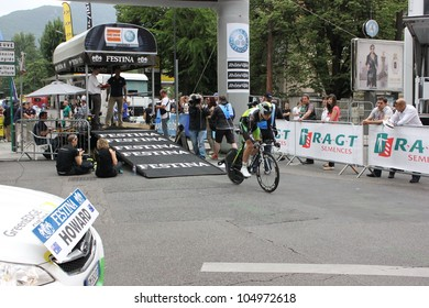 "GRENOBLE, FRANCE - JUN 3: Professional racing cyclist Leigh Howard rides UCI WORLD TOUR ""CRITERIUM DU DAUPHINE LIBERE""  time trial on June 3, 2012 in Grenoble, France. Luke Durbridge wins the stage"