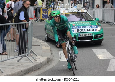 "GRENOBLE, FRANCE - JUN 3: Professional racing cyclist Pierre Rolland rides UCI WORLD TOUR ""CRITERIUM DU DAUPHINE LIBERE"" time trial on June 3, 2012 in Grenoble, France. Luke Durbridge wins the stage"