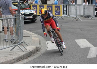 "GRENOBLE, FRANCE - JUN 3: Professional racing cyclist Philippe Gilbert rides UCI WORLD TOUR ""CRITERIUM DU DAUPHINE LIBERE"" time trial on June 3, 2012 in Grenoble, France. Luke Durbridge wins the stage"