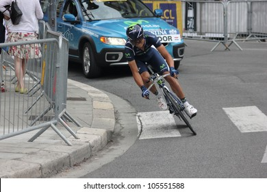 "GRENOBLE, FRANCE - JUN 3: Professional racing cyclist Andrey Amador rides UCI WORLD TOUR ""CRITERIUM DU DAUPHINE LIBERE"" time trial on June 3, 2012 in Grenoble, France. Luke Durbridge wins the stage"