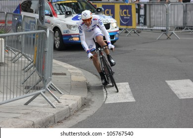 GRENOBLE, FRANCE - JUN 3: Professional racing cyclist Matthieu Ladagnous rides UCI WORLD TOUR CRITERIUM DU DAUPHINE LIBERE time trial on June 3, 2012 in Grenoble, France. Luke Durbridge wins the stage