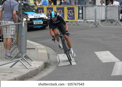 "GRENOBLE, FRANCE - JUN 3: Professional racing cyclist Danny Pate rides UCI WORLD TOUR ""CRITERIUM DU DAUPHINE LIBERE"" time trial on June 3, 2012 in Grenoble, France. Luke Durbridge wins the stage"