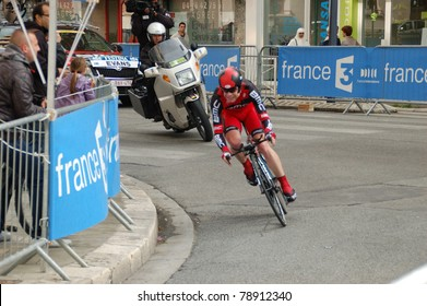 "GRENOBLE, FRANCE - JUN 8: Professional racing cyclist Cadel Evans rides UCI WORLD TOUR "" CRITERIUM DU DAUPHINE LIBERE"" third stage time trial on June 8, 2011 in Grenoble city, Isere, France."