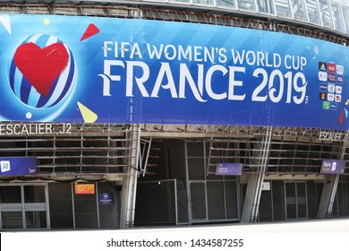 Grenoble, France - June 15, 2019: Facade of the stade des Alpes in Grenoble during the Fifa women's world cup 2019 in France