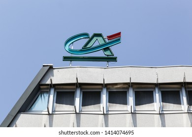 Grenoble, France - June 24, 2017: Credit Agricole office building. Credit Agricole is a French network of cooperative and mutual banks comprising the 39 Credit Agricole Regional Banks