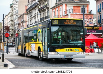 Grenoble, France - March 14, 2019: Articulated city bus Mercedes-Benz O530 Citaro G in the city street.