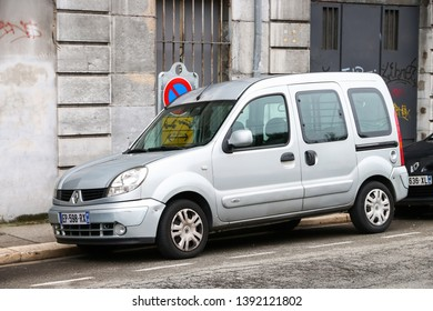 Grenoble, France - March 14, 2019: Compact van Renault Kangoo in the city street.