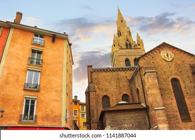 Grenoble, France - March, 2018 : Old famous street view of Grenoble. Beautiful  architecture