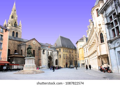 Grenoble, France, March 29, 2018 : Street view of the city of Grenoble. Beautiful perspective of architecture
