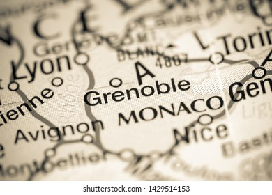 Grenoble. France on a map