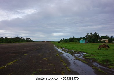 GRENVILLE, GRENADA -25 NOV 2016- The Pearls Airport, captured during the American invasion of Grenada in 1983, is now abandoned grazing land with Cuban and Soviet aircraft wrecks.