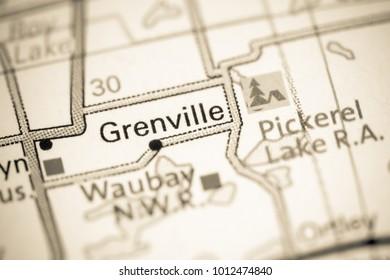 Grenville. South Dakota. USA on a map.