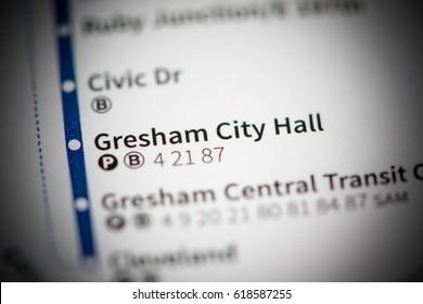 Gresham City Hall Station. Portland Metro map.